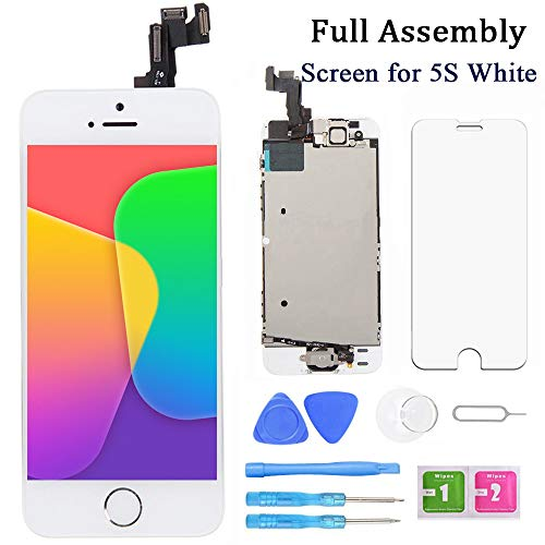 Samfix Screen Replacement for iPhone 5s White 4 Inch LCD Display Full Assembly Touch Digitizer with Home Button, Front Camera, Proximity Sensor, Earpiece and Screen Protector