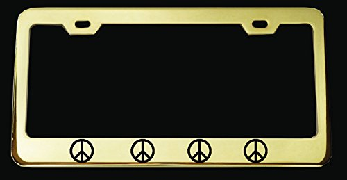 Peace Sign Metal Gold Plated License Plate Frame Perfect for Men Women Car garadge Decor