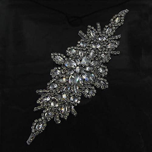 Sewing On Black Rhinestone Trim Applique Bridal Dress Shoulder Applique Iron