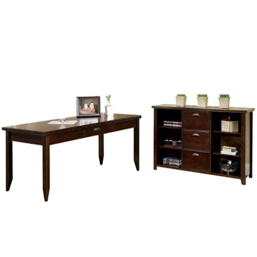 Writing Loft Desk Urban (2 Piece Office Set with Desk and 3 Drawer Wood File Bookcase in Cherry)