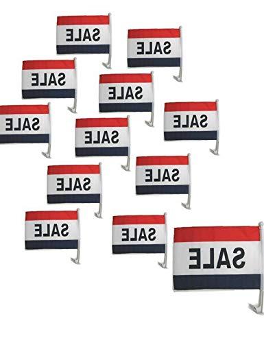 Kaputar CAR Dealer Supplies 10pc Pack Car Window Clip On Flags Sale Patriotic R/W/B | Model FLG - 7852