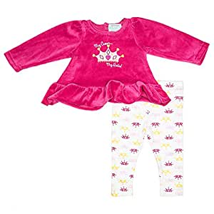 Kristen Hanah My Crown My Rules 2 Pieces Set For Girls - Fuchsia, 0-3 Months
