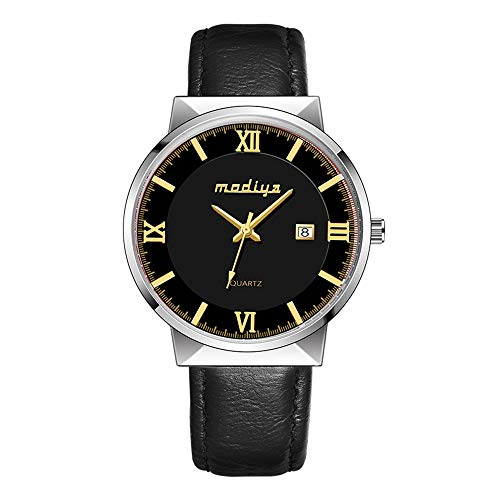 Linmkey Men's Minimalist Waterproof Watch Analogue Quartz Adults Watch with Genuine Leather Watch Strap
