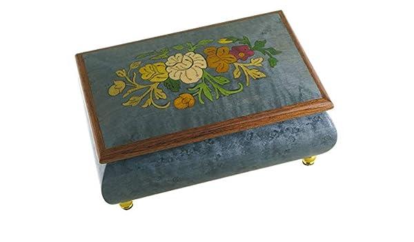 Caja de música para joyas / joyero musical de madera con marquetería