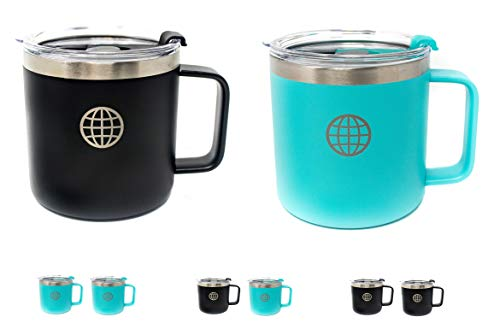 Insulated Coffee Mug with Lid and Handle - JTSC Products 2 Pack 14 oz Double Wall Vacuum Insulated Stainless Steel coffee mug - Cool gifts for Men - Large coffee mug for Camping (Black Blue)