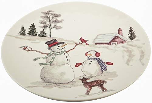Melange 608410091351 6 -Piece 100% Melamine Dinner Plates Christmas Collection-Snowman Shatter-Proof and Chip-Resistant, 10.5