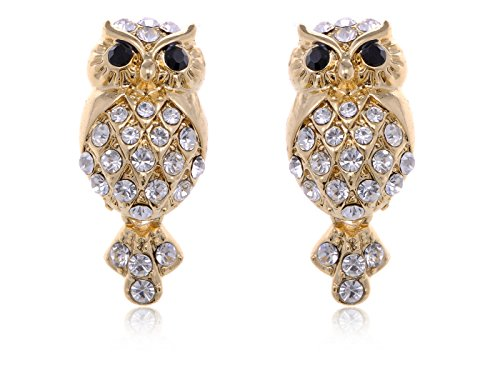 Alilang Golden Tone Mini Cartoon Grandpa Owl Bird Clear Rhinestone Cute Button ()
