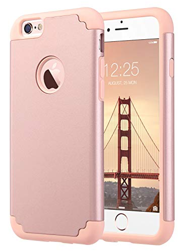 ULAK iPhone 6S Case, iPhone 6 Case, Slim Fit Dual Layer Soft Silicone & Hard Back Cover Bumper Protective Shock-Absorption & Skid-Proof Anti-Scratch Case for Apple iPhone 6 / 6S 4.7 inch- Rose Gold (Iphone 6s Plus And 6 Plus Difference)