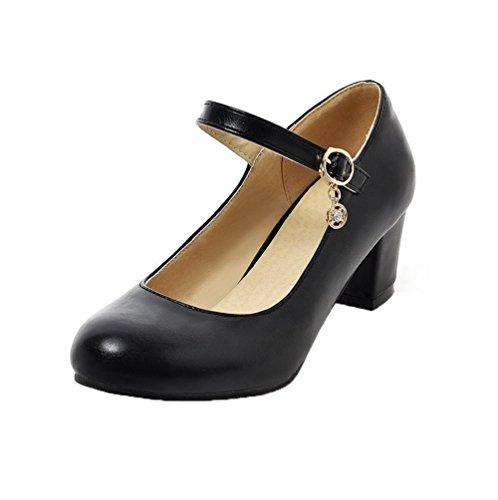 Mujeres Aalardom Pu De Tacón Zapatos Negro Medio Redonda on Slip Puntera rrSwx5dqF