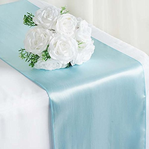 Efavormart Premium Satin Table Top Runner for Weddings Birthday Party Fit Rectangle and Round Table 12'' x 108'' Blue