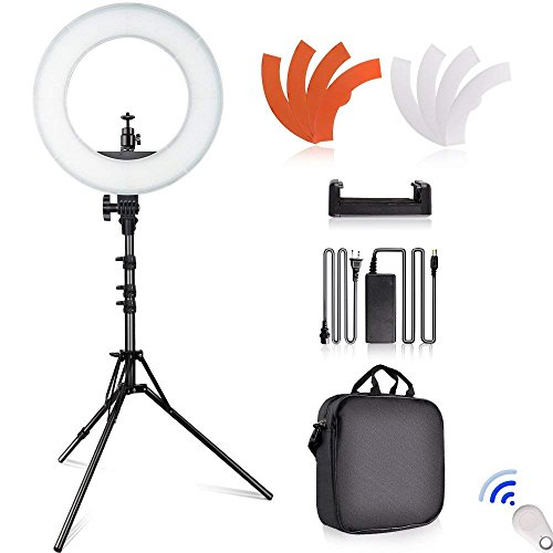 SAMTIAN LED Ring Light 14 inches Outer Youtube Light 180 Dimmable LED Lighting Kit with 2M Light Stand, Cradle Head Work with SLR Camera and Smartphones for Video Shooting, YouTube Video, Portraiture by SAMTIAN