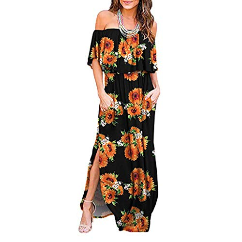 aihihe Womens Off The Shoulder Ruffle Party Dresses Side Split Floral Print Beach Maxi Dress (Black,M) -