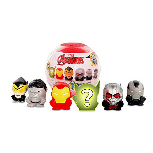 Basic Fun Mash'ems Super Sphere - Marvel Avengers Series 8 - Squishy Collectible - 6 Pack Includes 1 Ultra Rare Glow in The Dark Character - Amazon Exclusive