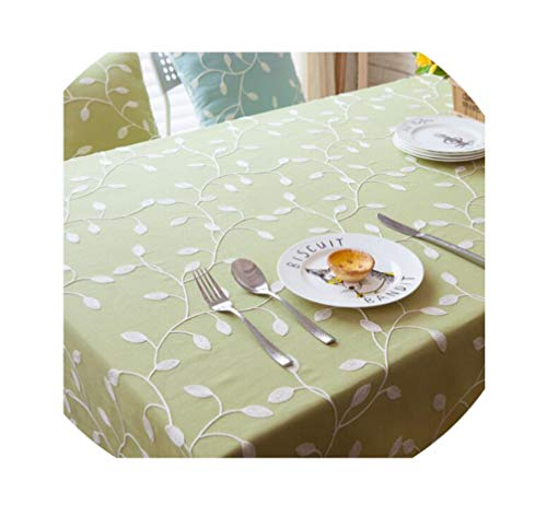 (LIUUUU Beautiful Lees Embroidered Green Blue White Polyester Cotton Home Table Cloth Leaf Table Cover Dust Proof,Green,100140cm )