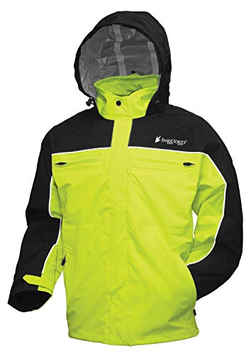 Frogg Toggs Pilot II Cruiser Rain Jacket, Black/Hivis Green, Size XX-Large
