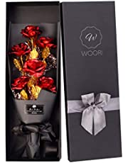 Gold Roses Bouquet, Gold Plated Artificial Rose 24k Golden Foil Rose, Forever Gifts for Her Valentine's Day Anniversary Wedding Mothers Day Birthday Gift and Proposal-Gold, Red by W