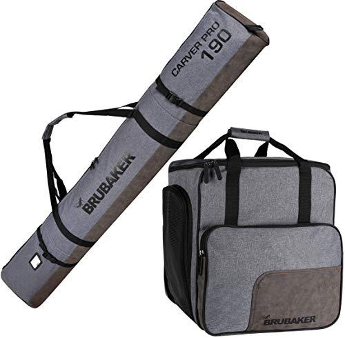 BRUBAKER Combo Set Carver Performance - Ski Bag and Ski Boot Bag for 1 Pair of Skis + Poles + Boots + Helmet - Grey Black - 74 3/4 Inches -