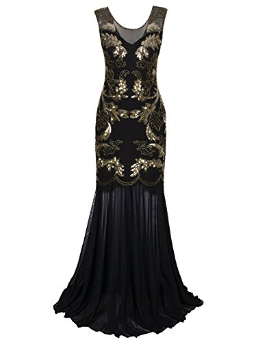Vijiv Vintage 1920s Gatsby Evening Gown Long Art Deco Sequin Beaded Party Prom Dress,Black (Gold Fancy Dress)