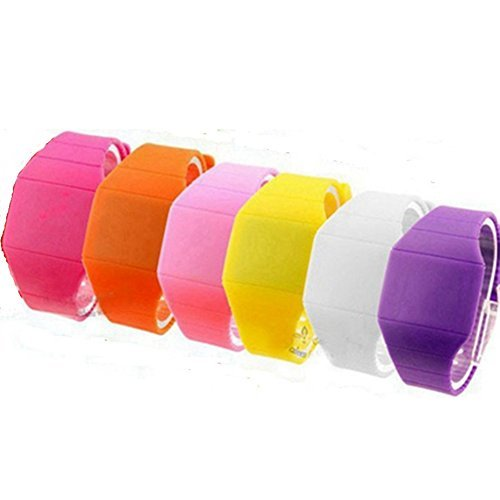 KitMax (TM) Pack of 6 Assorted Color Touch Screen Jelly Silicone Band Automatic LED Digital Bracelet Wrist Watch (Color May (Automatic Jelly)