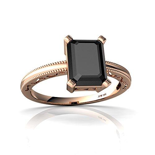 (14kt Rose Gold Black Onyx 8x6mm Emerald_Cut Milgrain Scroll Ring - Size 6)