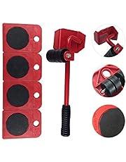 ADGO Set voor Hijsen, Transport van Meubels, Huishoudelijke Apparaten, Set van 5 Stuks, Transportrollen en Lifter, Maximale Belasting Tot 150 kg, Rood, 1 stuk