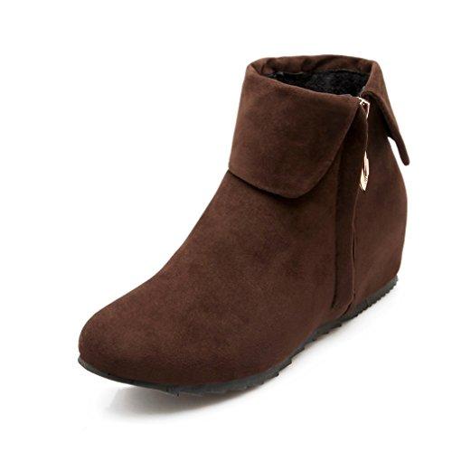 MFairy Womans Autumn Hidden Heel Zipper Ankle Boots Casual Plus Size Boots Brown pALpsz