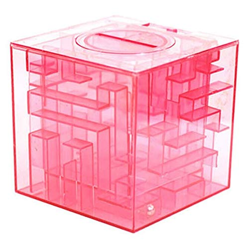 Money Maze - Plastic Cubic Money Maze Bank Saving Coin Collection Case Box 3d Puzzle Pink - Money Maze Bank Money Boxes Save Piggy Bank Puzzle Shirt Guitar Child Children Coin Cotton Full Skirt ()