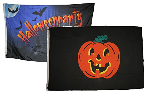 ALBATROS 3 ft x 5 ft Happy Halloween 2 Pack Flag Set Combo #16 Banner Grommets for Home and Parades, Official Party, All Weather Indoors Outdoors]()