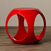 End Table Modern Side Living Room Decor Cube Stand Fiberglass Resin Quality Material Multiply Colors (Red)