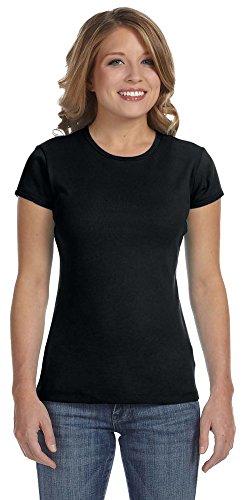 Bella + Canvas Womens Stretch Rib Short-Sleeve T-Shirt (1001)- BLACK,S
