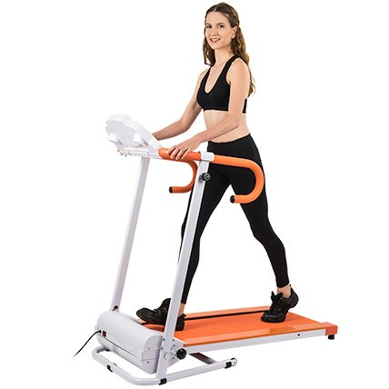 AuWit 1100W Series Electric Motorized Folding Treadmill w/ Built-In Speakers for Music Playback (AUX Input) (ORANGE)