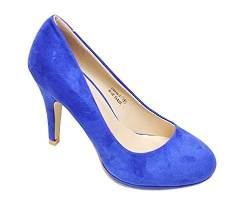 Bella Marie Celo-1 Women's almond toe platform multi color suede high heel stilettos shoes Royal Blue - Blue Suede Pump Shoes