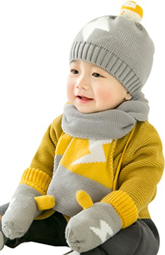 Baby Winter Hat Scarf Mitten Set, Unisex Infant Toddler 6-24 Months(Grey)