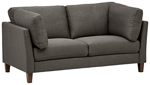 "Rivet Midtown Mid-Century Modern Upholstered Sofa Couch, 68.5""W, Charcoal"