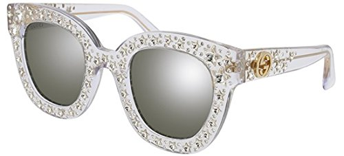 Gucci GG 0116 S- 001 CRYSTAL / SILVER - Gucci Crystal Sunglasses