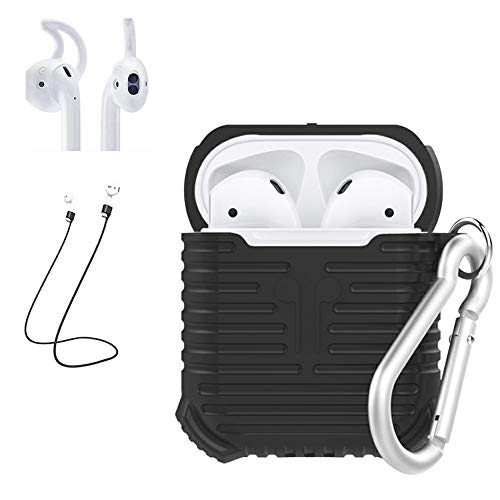 Case for Airpods, Panamalar Premium Quality Silicone Anti Fingerprints Shock Absorption Protective Covers with Magnetic Anti-Lost Strap and Ear Hooks for Apple Air Pods Accessories