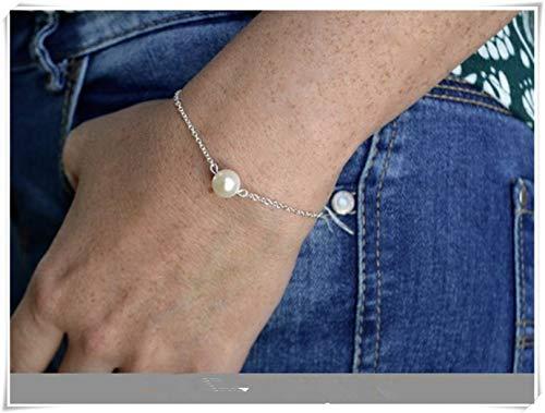 - Cool jewelry Single Pearl Bracelet ,Silver Bracelet ,Freshwater Pearl Real , 925 Silver Bracelet