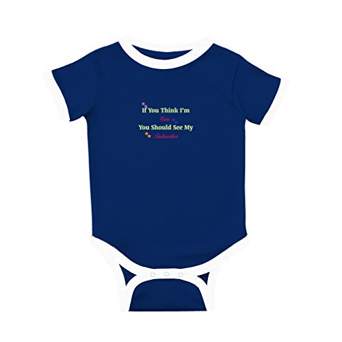If You Think I'm Cute You Should See My Godmother Cotton Short Sleeve Crewneck Unisex Baby Soccer Bodysuit Sports Jersey - Royal Blue, 6 Months Pro Style Football Jersey