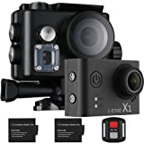 Z-EDGE 4K Action Camera, WiFi Ultra HD Waterproof Sport Camera 2 Inch LCD Screen, 1080P 60FPS 16MP Action Cam, 170 Degree Ultra Wide Angle, With 2 Rechargeable 1000mAh Batteries