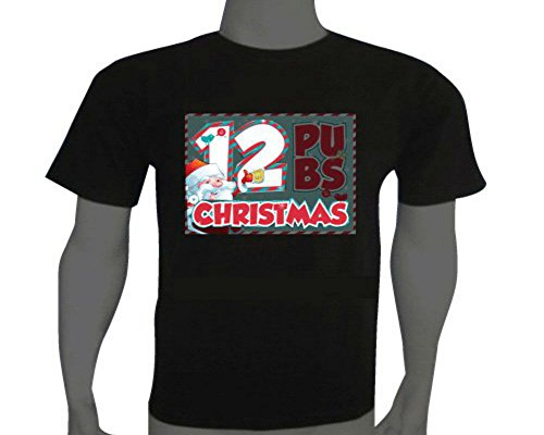 Amusing Sound Activated LED Christmas T-shirt 12 Pubs Size M