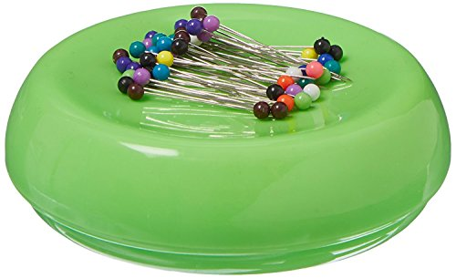 (Grabbit Magnetic Sewing Pincushion with 50 Plastic Head Pins, Lime Green)