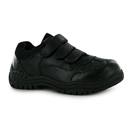 Kangol Borden Kinder Leder Schuhe Klettverschluss Schulschuhe Halbschuhe Schwarz