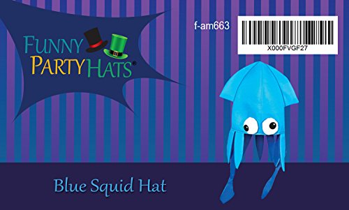 454b83f6 Blue Squid Hat Mix - Large Squid Hat In Blue With Crazy Eyes - Import ...