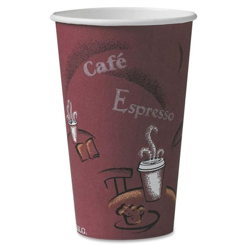 SOLO OF16BI-0041 Single-Sided Poly Paper Hot Cup, 16 oz. Cap