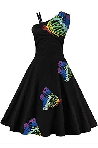 Babyonline Sleeveless emboridery wedding guest dress,Blue and Black.3XL