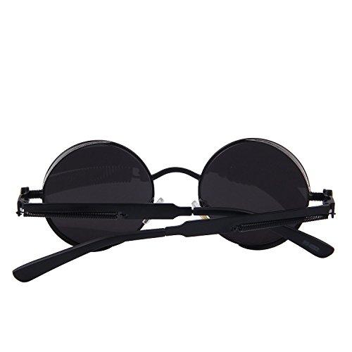 cf9e60cda32ef GAMT Retro Gothic STEAMPUNK Round Sunglasses Metal Frame Mirrored Circle  Lens Black