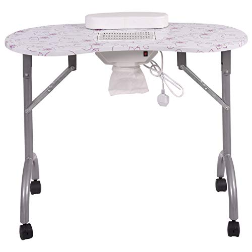 Vigenu Manicure Nail Care Table Desk Beauty Spa Station Salon Portable Vent Fan