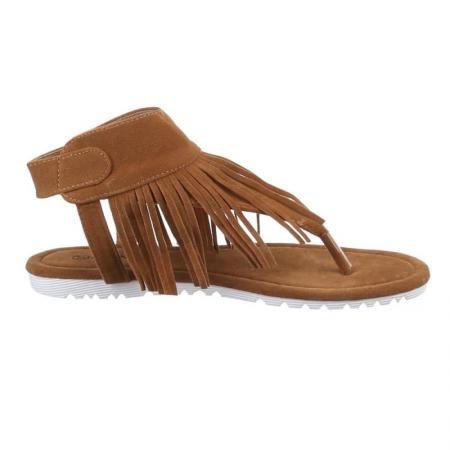 Modische Italy Damen Sandalette Sandale im Indianer Hippie Look mit Fransen  Wildleder Optik (36, 53a49b8109