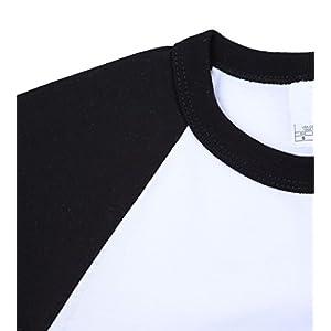 Ola Mari Unisex Kids Raglan Baseball T Shirt Top, XS, White/Black