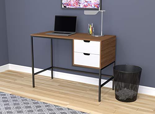 Safdie & Co. 81033.Z.50 Home Office Desk Computer Desk-48/Walnut W/T White Drawers/Black Metal